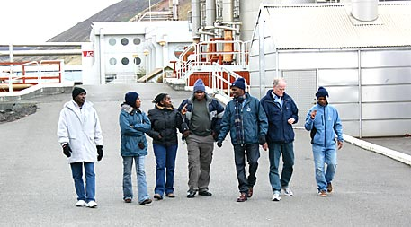 Fellows participating in the 2011 United Nations University geothermal training program tour the Svartsengi plant.