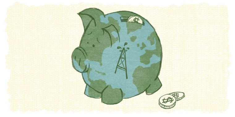 Globe piggy bank with oil rig illustration