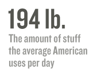 194 lb.: The amount of stuff the average American uses per day