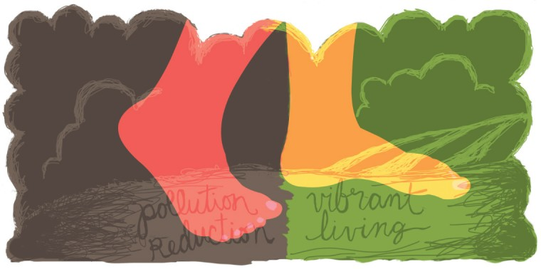 """Feet walking forward from """"pollution reduction"""" to """"vibrant living"""""""