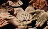 Cement-splattered hands