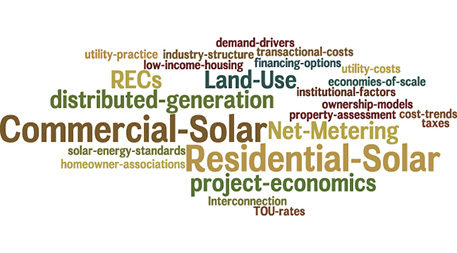 Obstacles to solar power, as shown through a word cloud developed by Fresh Energy after a year of study.