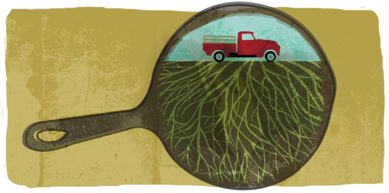 Truck, roots and frying pan representing how we move food, how we farm and how we eat