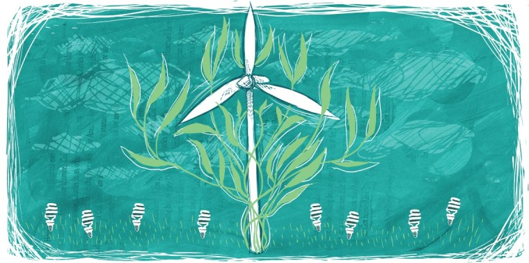 Wind turbine prominently growing among CFL bulbs