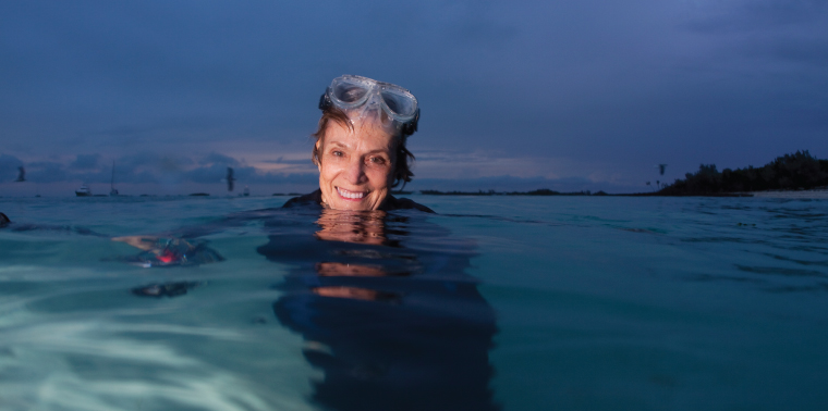 Sylvia Earle wearing goggles in water