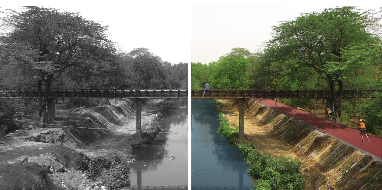 Before and after (proposed) of Delhi nullahs