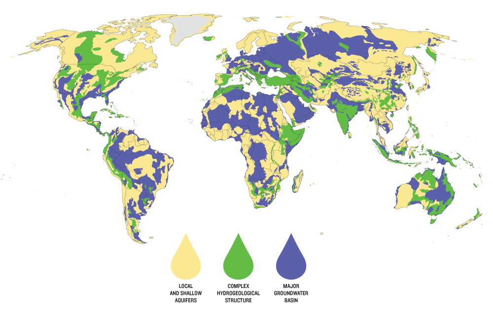 Just as the distribution of lakes and rivers varies around the world, so too does the distribution of aquifers.  Major basins (purple) hold abundant, relatively easily extracted groundwater.  More complex basins (green) might contain multiple aquifers separated by impermeable rock or have layers of saltwater as well as fresh. Local and shallow aquifers provide only limited quantities of water. Map created by Peder Engstrom and Kate Brauman of the Institute on the Environment's Global Landscape Initiative. Data provided by BGR & UNESCO (2008): Groundwater Resources of the World 1 : 25 000 000. Hannover, Paris.