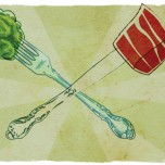 Illustration of broccoli on fork crossed with beef on knife