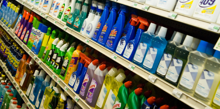 Supermarket shelf with a variety of cleaning products