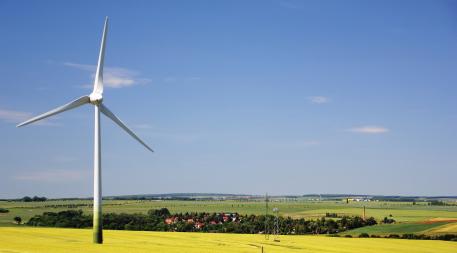 Wind turbine on German farm