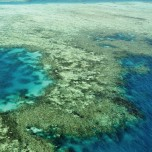 Aerial view of ocean and reefs