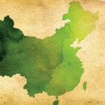 Shape of country to China painted green in watercolor style