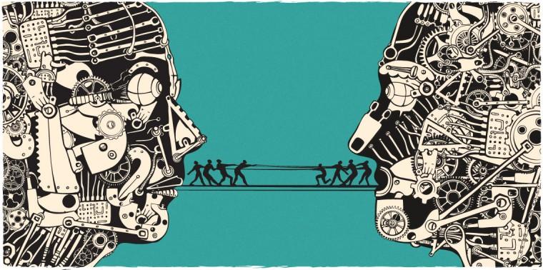 Science debate. Tug of war between two heads constructed of gears.