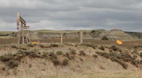 Pump jack and gas fare in the Bakken oil fields of North Dakota