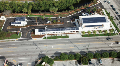 Aerial of PNC bank in Ft. Lauderdale, Florida