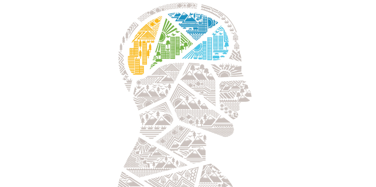 City/nature brain illustration from The Infinite Resource book cover