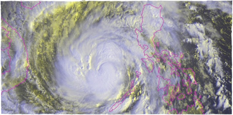 Typhoon Haiyan is pictured in this NOAA satellite image, over the Philippines, Nov. 8, 2013