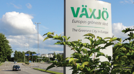 "Signage for the City of Växjö: ""The Greenest City in Europe"""