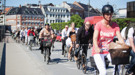 Commuters biking at rush hour in Copenhagen