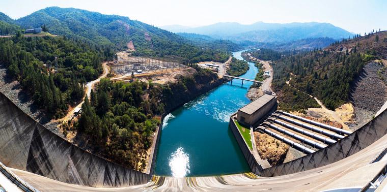 View downstream from the Shasta Dam, California