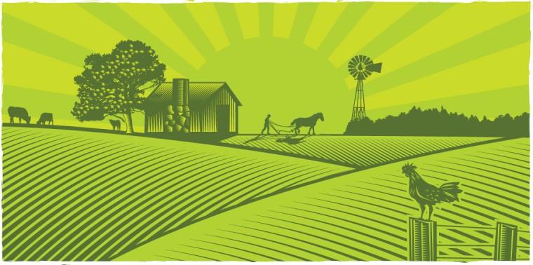 llustration of farmer plowing field