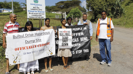 Desmond D'Sa with his team at the site of the former Bulbul Drive landfill