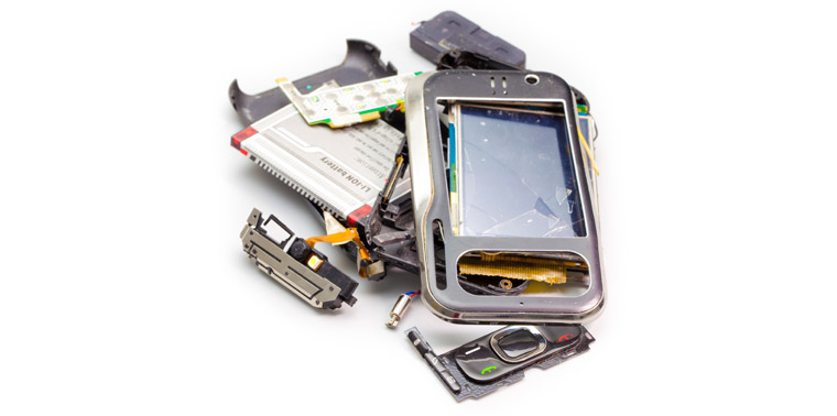 Image of a broken smartphone