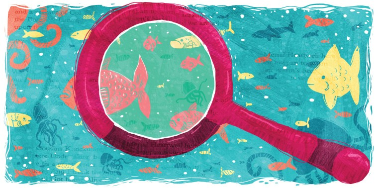 Magnifying glass with question mark in front of an aquarium of fish