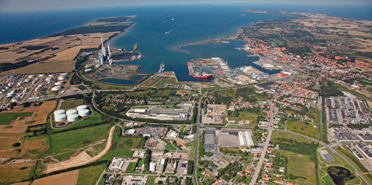 Aerial view of Kalundborg sustainable industry complex