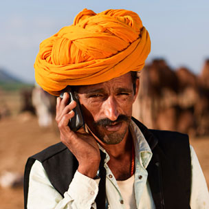 Indian man with cell phone