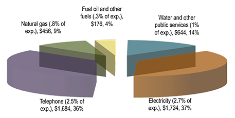 Consumer expenditures on utilities for a four-person household in 2012