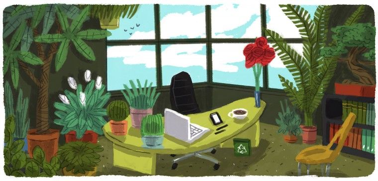 Office filled with living plants