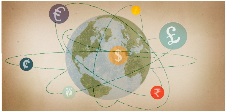 Currency orbiting the earth
