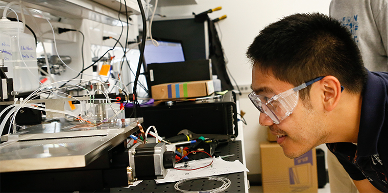 Research engineer Dan Guevarra performs a CO2 reduction experiment developing solar fuels in the Joint Center for Artificial Photosynthesis at the California Institute of Technology (Caltech) in Pasadena, California