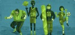 Athletes (football, basketball, snowboarding, soccer) in shades of green
