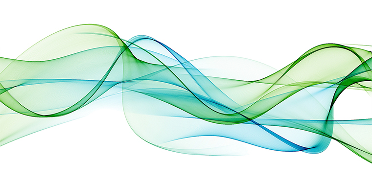 Green and blue abstract flowing lines