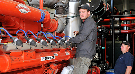 Methane gas powered generator on Blue Spruce Farm
