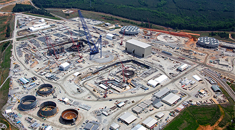 Aerial photo of nuclear reactor construction site