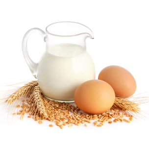 Milk, eggs and wheat