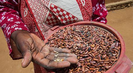 Hawa Saidi Ibura, after crushing a bean in her hand