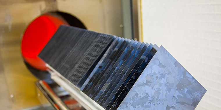 1366 Technologies' solar wafers baked in an industrial oven as part of manufacturing process