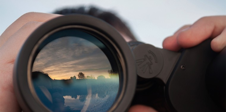 Horizon reflection in binoculars