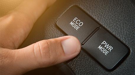 Eco mode button in car