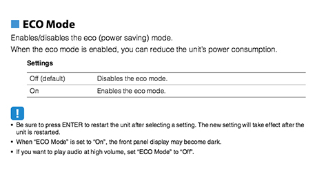Eco mode description and warnings