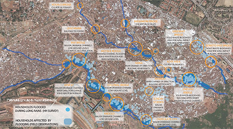 Through extensive data gathering, design firm KDI was able to come to surprising conclusions about flooding in Kenya's largest slum that are leading to practical solutions. Locations of households reporting flooding in the 2015 long-rains