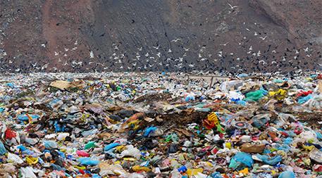 Colorful plastic in landfill