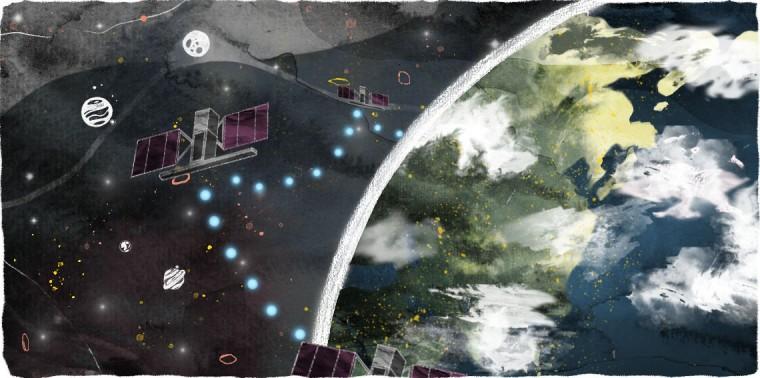 Satellites sharing data and information around Earth