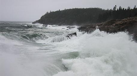 Heavy winter seas-Acadia National Park in Maine