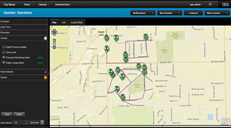 Operator view of IBM Water Management software