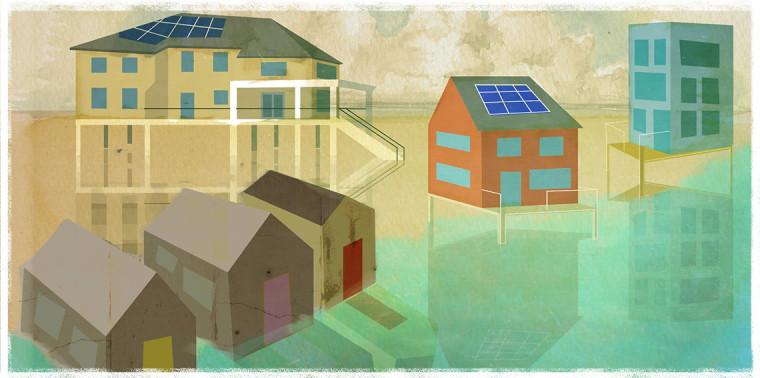 Coastal scene with old vs. new homes